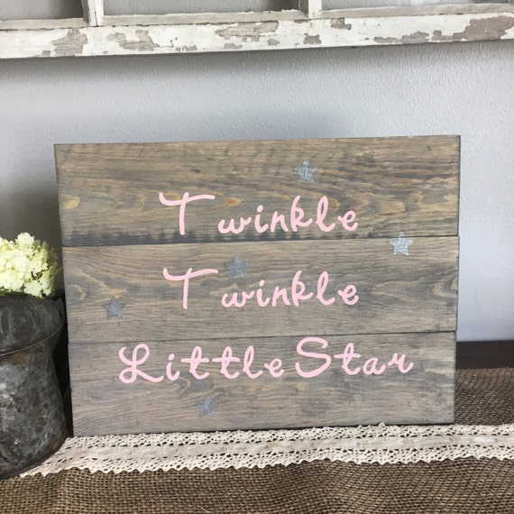 Nursery sign twinkle twinkle little star sign girls room for Signs for little girl rooms