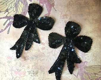 2 Lovely Vintage Black Sequinned Bow Appliques
