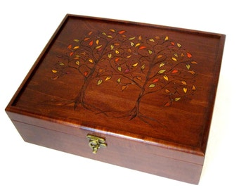 Two Trees, One Heart with Autumn Leaves: Large Tea Chest, Watch Chest or Jewelry Chest with dividers and custom compartments
