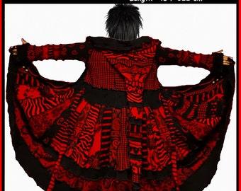 Elf coat, eLF sWEATER, size XL, size XXL, fairy,  women hoodie, sweater coat, patchwork , Recycled dress, OOAK, dream coat, wearable art