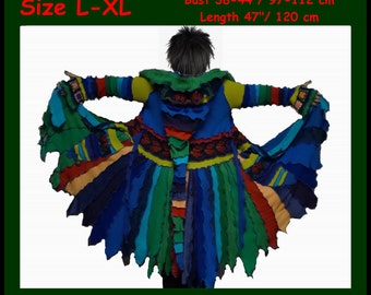 eLf cOAT, elf sweater, sweater coat, size L, size XL, hoodie, pixie, fairy, costume, gypsy, patchwork coat. sweater dress, OOAK