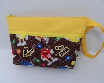 MMs Cosmetic Bag - Wallet - Clutch - Zipper Pouch -  Makeup Bag - Travel Bag - Zippered Wallet - Wristlet