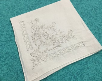 Vintage White hanky, hankerchief with white embroidered floral design for Wedding hanky, bridal hanky, Valentines, Spring by MarlenesAttic