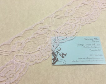 Pink lace,  1 yard of 2 3/4 inch Pink Chantilly Lace trim for bridal, baby, valentines, romantic, couture by MarlenesAttic - Item 9Z