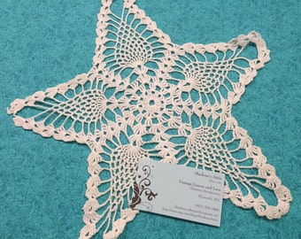 Doily, Vintage 13 inch White Star Hand Crochet doily for housewares, home decor, pillows, crafts, shabby chic, bags by MarlenesAttic