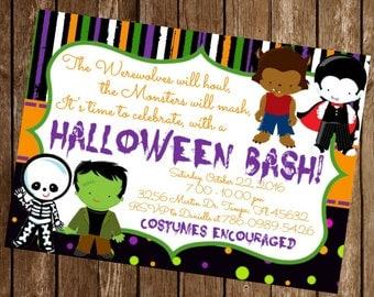 Halloween Bash Party Costume Kid Invitation Download 5 x 7