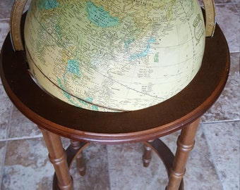 crams imperial globe & floor stand 1980's made in USA shows burkina faso and ivory coast romania and yugoslavia. ussr russia. ships FREE USA