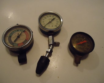 Three Vintage Automotive Industrial Gauges-Pressure-Compression-Fuel Pressure-Display-Steampunk-Supplies-Altered Art-Industrial Art-