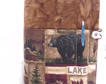 Protective padded Bible study book cover, masculine, outdoor lover, bear, moose, cabin, woods, forest, hunting, fishing, men, male