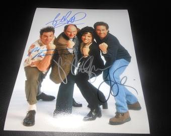 Seinfeld hand signed cast 8x10 photo - autograph x 4 - Jerry - George - Kramer - Elaine