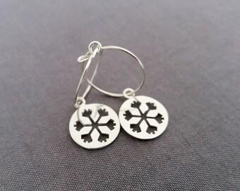Snowflake Earrings. Sterling Silver Snowflake. Hoop Earrings. Dangle Earrings. Simple Winter Jewelry. Christmas Gift