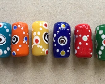 hippie boho funky multi colored recycled kitschy colorful glass tube beads with white dot designs--mixed lot of 6