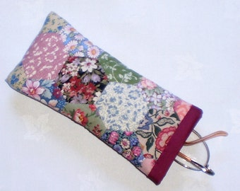 Patchwork Spectacle Case/Pouch -  Handstitched Hexagons in Vintage Cotton Fabrics