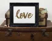 Love wall art - New home gift -  Framed appliqué art - Appliqué art - Textile art - Gold letter wall art - Romantic gift - Valentine gift