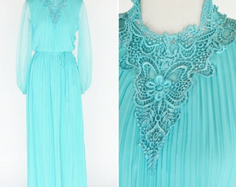 Vintage 1970's Blue Maxi Formal Gown - Blue pleated high neck evening dress - ladies size medium