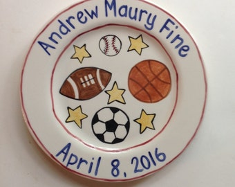 Custom Personalized Sports Birth Plate