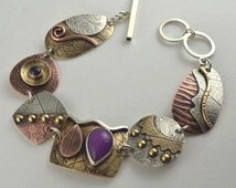 Purple Jade Bracelet - Mixed Metal Bracelet - Metalsmith Bracelet - Artisan Bracelet