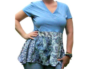 Womens Asymmetric Top, Upcycled Clothing, OOAK Asymmetric Tunic, Blue Asymmetric Top, Upcycled Flared Top, Bohemian Top, Altered Couture