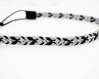 Silver and Black Woven Pattern Headband