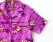 80's RAINBOW HAWAIIAN SHIRT - Men's // Hilo Hattie // Purple // Hawaii // Tropical // Summer // Luau // Size Medium - Large