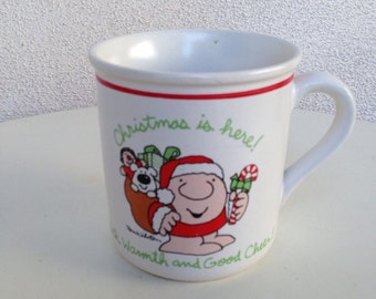 Vintage stoneware mug Ziggy Christmas is here with warmth and good cheer