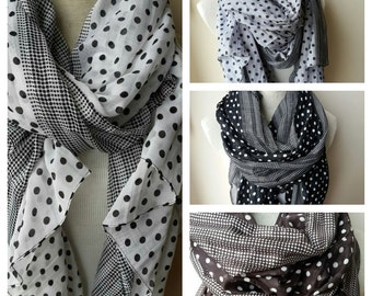 Black white gray brown polka dot scarf-cotton gauze oversize scarf-Large Shawl scarf-pareo-woman fashion accessories gift ideas for her