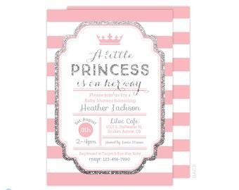 Princess Baby Shower Invitation - Pink and Silver Baby Shower Invitation - Girl Baby Shower - Silver Glitter invitation - Printable