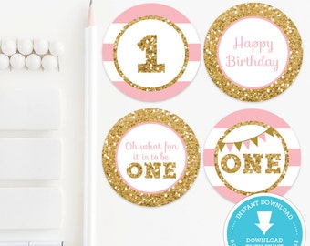 Pink & Gold 1st Birthday Cupcake toppers - Pink and gold birthday decor - Gold birthday - Gold Glitter printable - Instant Download