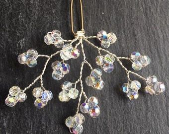 gypsophila hair accessory, crystal hair pind, baby's breath bridal hairpin, bridesmaid pin