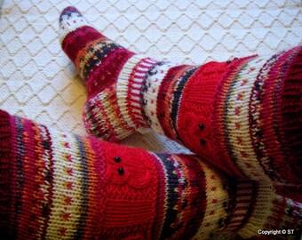 Winter tale III - Long kneehigh Wool socks 'Talvisatu' Womens Girls hand knitted Winter Big size Warm Cosy Gift idea Handmade in FINLAND