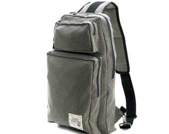 Soft Cotton Stitch Backpack(Grey)