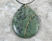 Kintsugi (kintsukuroi) inspired brown crazy lace agate teardrop pendant with gold repair on black cotton cord - OOAK