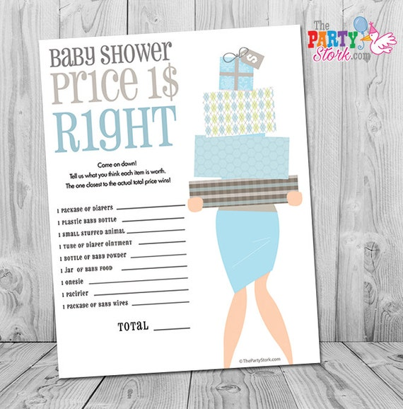Baby Shower Games, Boy Baby Shower Games, The Price Is Right Baby Shower  Game, Baby Shower Games Printable, Blue Price Is Right Game