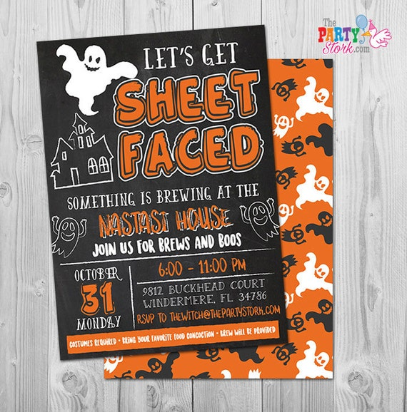 Free Funny Birthday Invitations For Adults: Adult Halloween Invitation, Funny Lets Get Sheet Faced