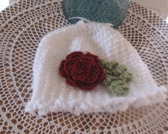 Hand Crocheted Baby, Girl's Hat, White with Rose and Leave detail~ Ready to Ship~ Originally 20.00