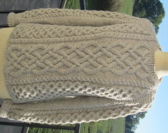 Celtic Knot Sweater, Handmade in Oatmeal Fisherman's Sweater