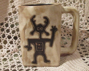 Vintage Mara of Mexico Pottery Mug with Tiki God