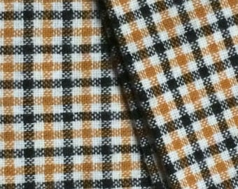 Wool Fabric / Plaid Wool Fabric / Orange Wool Yardage / Orange and Black Plaid / 5 and 1/2 Yards