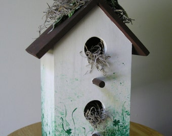 Irish Birdhouse with Painted Shamrocks