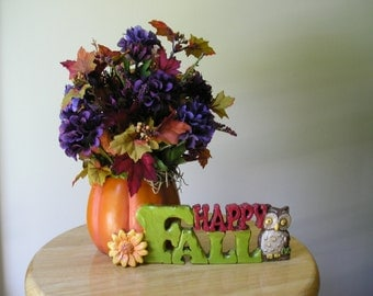 Fall Centerpiece with Purple Fall Flowers, Leaves and Owl