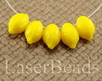 Lemon beads 12pc 14mm Yellow lemon fruits Opaque Yellow Czech glass teardrop beads Bright yellow beads Tear drop beads Top drilled last