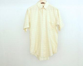 60s super soft PLAID white & YELLOW oxford shirt