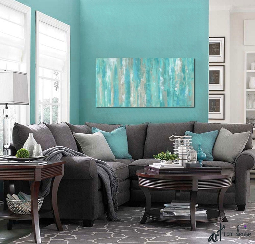 Large Wall Art Teal Home Decor Canvas Art Print Abstract