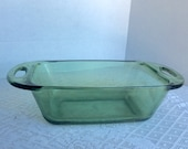 Anchor Hocking Green Glass / Vintage Glassware Bread Pan / Glass Ovenware / Vintage Kitchenware
