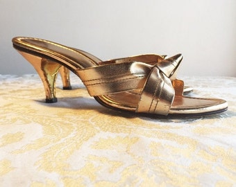 CIJ Sale Gold Metallic Heels / Vintage 1970's Open Toe Shoes / Pumps For Weddings and Prom