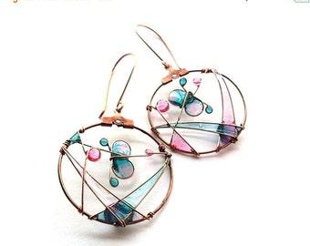 AUGUST SALE 20% Mint pink butterfly earrings, spring jewelry, dangle pastel earrings