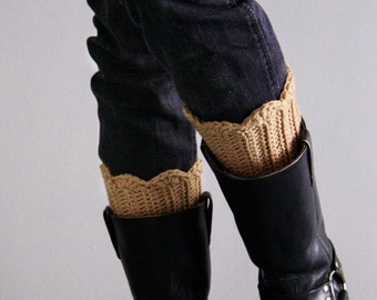 Beige leg warmers, crochet boot toppers, winter fashion, chunky boot cuffs