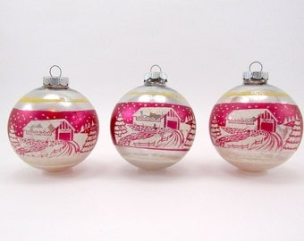 Shiny Brite Christmas Ornaments Pink 1950s Vintage Glass Stenciled Christmas Decorations Baubles