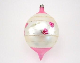Christmas Ornament Hand Painted Poland Teardrop 1950s Vintage Glass Christmas Decoration Jumbo Sized
