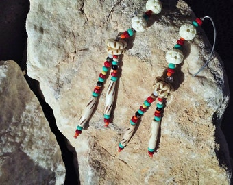 western earrings,carved bone hair pipe,turquoise,coral,sterling marquise wires